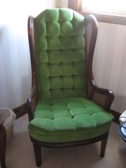 Green Velour High Back Chair