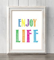 Enjoy life poster. Dorm room decor. Motivational,  Inspirational