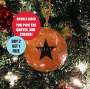 Hamilton Christmas Bulb Ornament. Double sided.